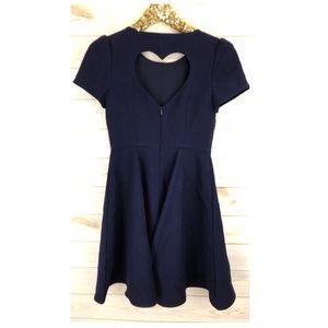 Maison Jules Heart Cut-Out Fit Flare Blue Dress